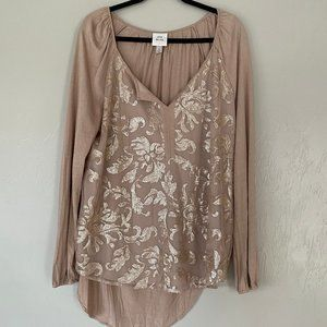 Knox & Rose Sequin Overlay Blouse Sz XL